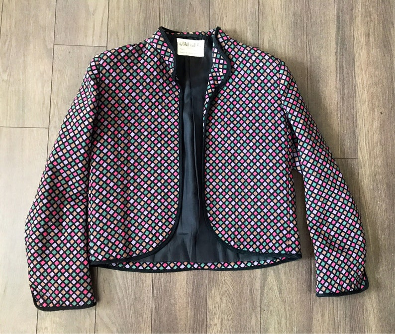 Pleated Skirt 100/% Wool Checkered Vintage Women/'s 3 Piece Skirt Suit Purple and Pink Mod Blazer Mad Men Fashion