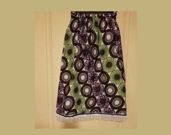 24851a1f08580 Girls skirt African print White black green purple with Israelite clothing  fringes