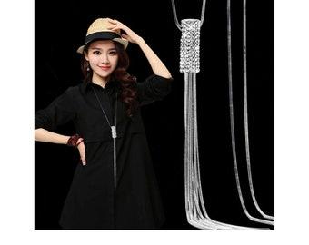 9681e7940dc Nataliya Silver Crystal Cynlinder Bar Long Sweater Chain Tassel Necklace