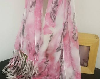 Silk scarf, Handmade Scarf, Hand painted scarves, Crepe de Chine Silk scarf, Fringe Scarf, blue and black scarf, Women's Accessories