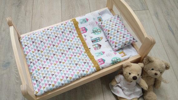 DOLLS PRAM BLANKET /& PILLOW COT BEDDING SET LITTLE BUTTERFLIES BABY ANNABELL