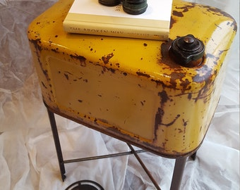Upcycled Furniture Industrial End Table Pallet Furniture Yellow Gas Can  Tank Salvage Nightstand Table