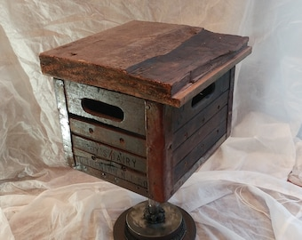 Etonnant Industrial Furniture End Table Pallet Urban Retro Car Parts Hot Rod Plant  Stand Metal Sculpture Upcycled Pallet Farmhouse Table