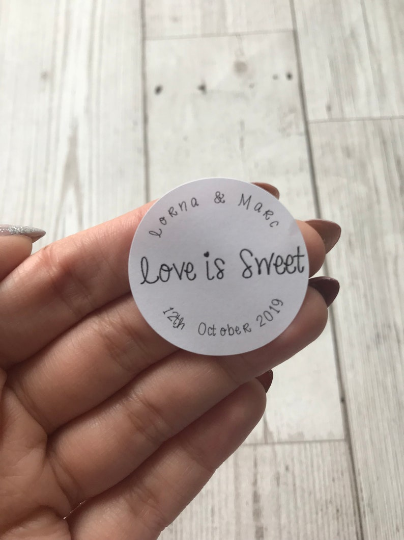 Personalised round stickers wedding favor stickers love is sweet custom envelope sticker envelope seals wedding confetti stickers