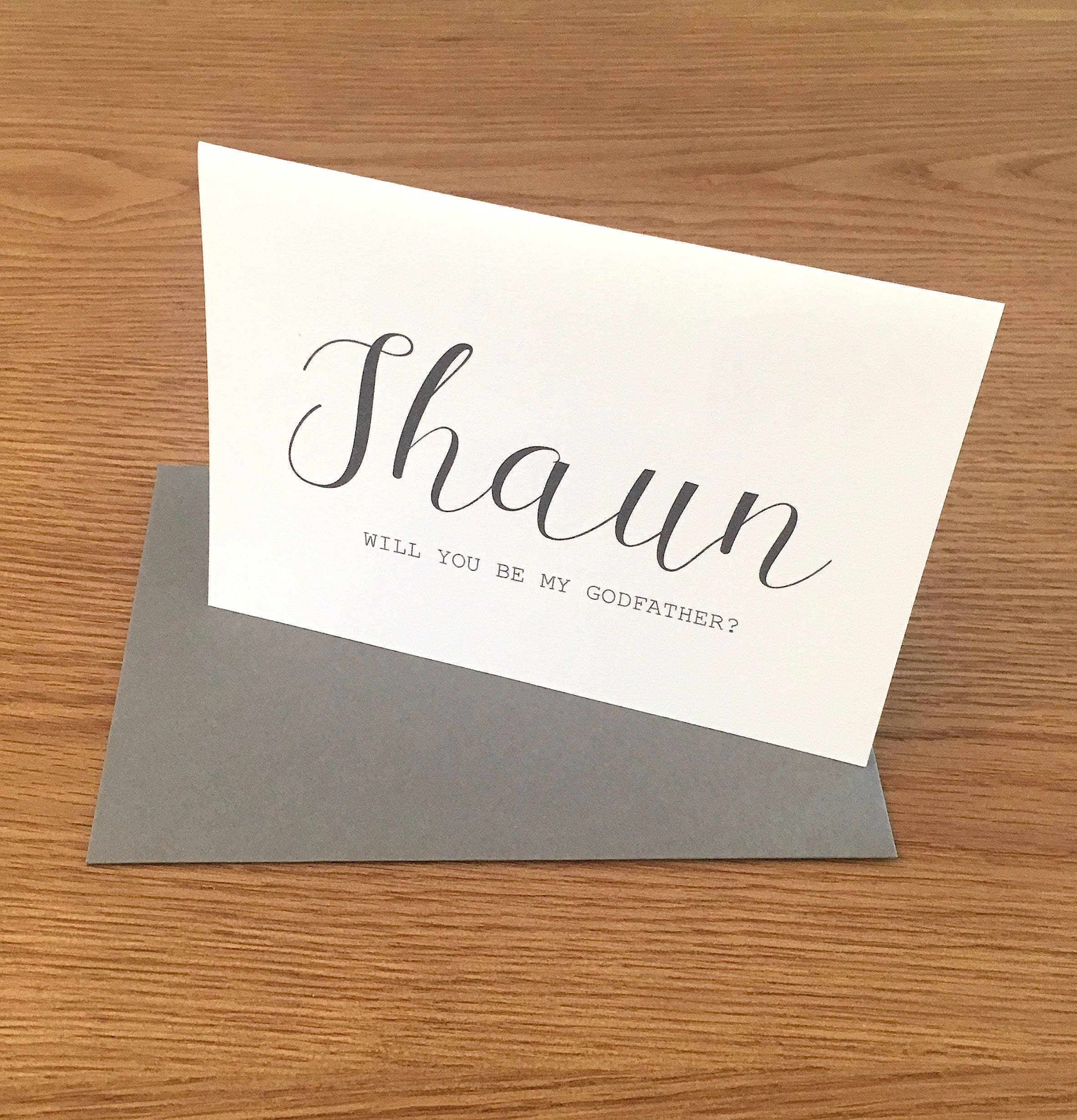 ENVELOPE PERSONALISED WISH CHARM THANK YOU GODFATHER CARD GIFT COLOUR OPTIONS