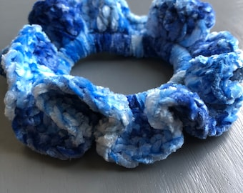 Blue Velvet Crochet Scrunchie
