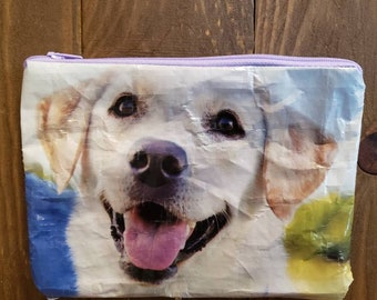 UPCYCLED Yellow Labrador Zippered Pouch