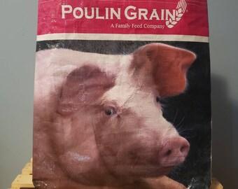 Upcycled Pig Food Grain Bag Tote/Reusable grocery bag