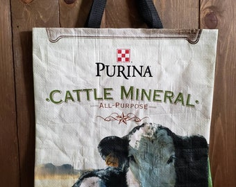 Upcycled Cow Feed Grain Bag Tote