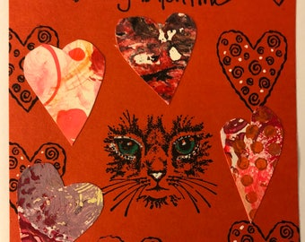 Valentines Day Card/Cat Greeting Card/Handmade Valentines Day Greeting Card/Handmade Valentines Day Card