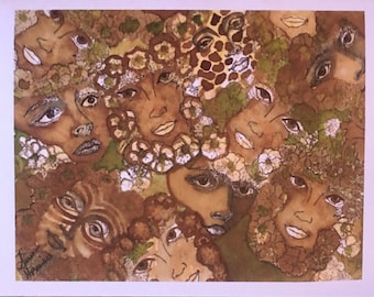 Jungle Java Greeting Card/Handmade Greeting Card/ Greeting Card Painted with Coffee