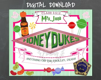 graphic about Honeydukes Sign Printable referred to as Honeydukes indicator Etsy