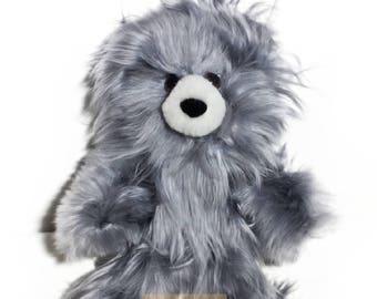 Gray 10 IN - 13 IN / PREMIUM Baby Alpaca Suri Fur Teddy Bear- Stuffed Toy from Peru Plush llama Toy - Special gift handmade in Peru