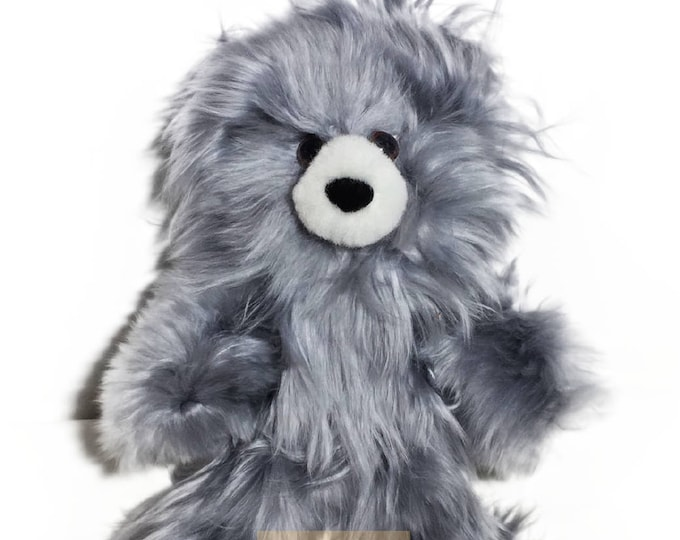 Gray 10 IN - 13 IN / PREMIUM Baby Alpaca Suri Fur Teddy Bear- Stuffed Toy from Peru Plush llama Toy - Special gift handmade in Peru