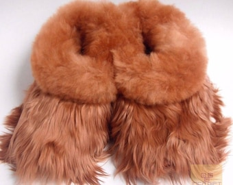 Warm, 100% Baby Alpaca Fur Fuzzy Slippers- Suri Slipper for Men,  Women, Luxury Gift for any occasion  Brown, Black - Beige