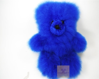 10 -11 IN Blue Real Super  Baby Alpaca Fur Teddy  Bear - Peruvian Products - Stuffed Colored Alpaca Toys - Handmade
