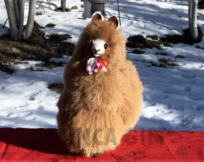 7 IN Handmade Baby Alpaca Mini Stuffed Animal Plush Alpaca  7 IN/ Llama  fur teddy alpaca Peruvian alpaca fur stuffed animal toy Brown