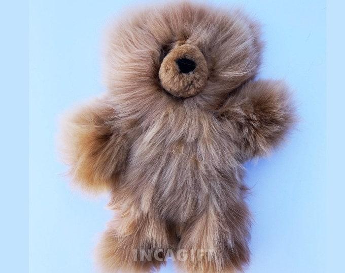 10 IN - 13 IN Real Super Baby Alpaca Suri Teddy  Bear CAMEL Peruvian Stuffed Alpaca Toys -Handmade Fur toy -Alpaca stuffed animal from Peru