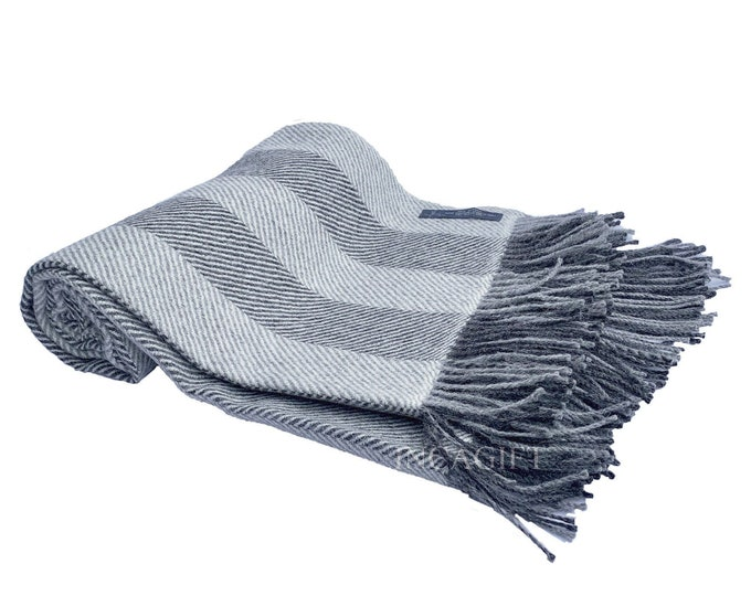 Gray 100% Real herringbone Woven Baby Alpaca Throw Blanket -  Mix blankets made in Peru