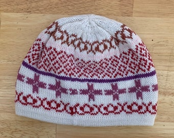 100% ALPACA - alpaca hat handmade in Peru - Fleece Lining  Alpaca hat for women Winter Hat hat -Peruvian Hat Peruvian Products PINK White