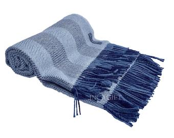 Blue 100% Real herringbone Woven Baby Alpaca Throw Blanket -  Mix Blue blankets made in Peru