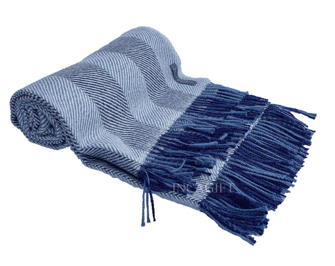 Blue 100% Real herringbone Woven Baby Alpaca Throw Blanket -  Mix Blue blankets made in Peru