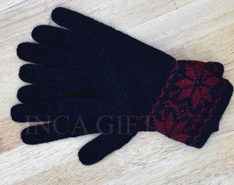 100% ALPACA - Black alpaca gloves handmade in Peru - Alpaca gloves for women -Peruvian Products