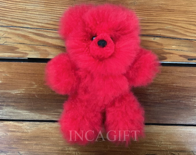 10 -11 IN RED Real Super  Baby Alpaca Fur Teddy  Bear - Peruvian Products - Stuffed Colored Alpaca Toys - Handmade RED