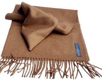 100% Baby Alpaca Scarf  - Camel Peruvian Handmade Scarf-  Solid  Weave Brushed Scarf
