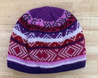 100% ALPACA - alpaca hat handmade in Peru - Fleece Lining  Alpaca hat for women Winter Hat hat -Peruvian Hat -Peruvian Products  Navy