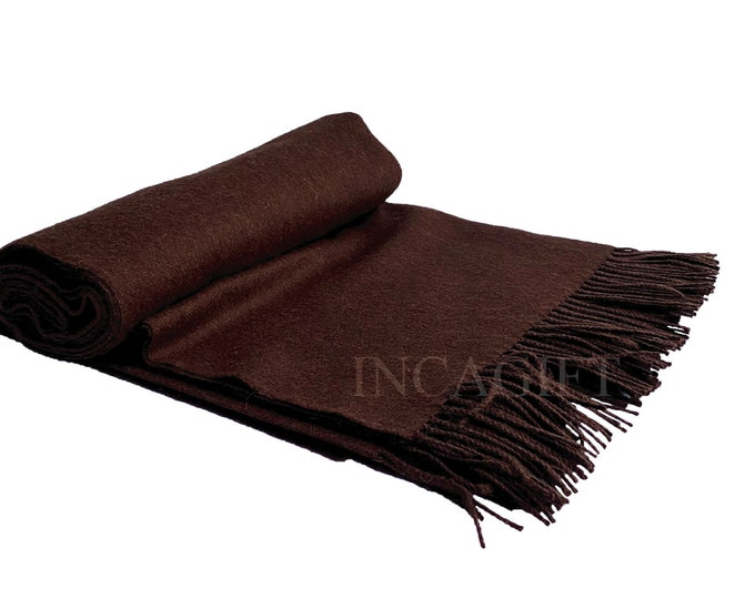 Chocolate 100% Baby Alpaca Throw Blanket -  Woven blankets made in Peru