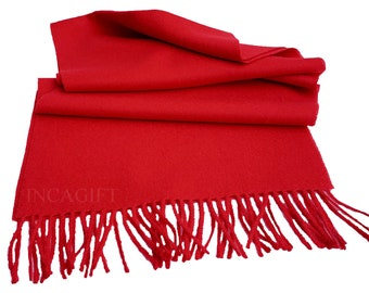 100% Baby Alpaca Scarf  - Red Peruvian Handmade Scarf-  Solid  Weave Brushed Scarf