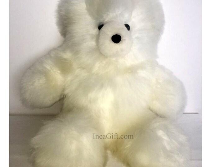 20 IN Real Super Baby Alpaca Suri white Teddy  Bear  Peruvian Stuffed Alpaca Toys -Handmade llama Fur toy -Alpaca stuffed animal from Peru