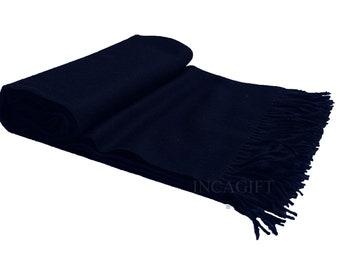 Black 100% Baby Alpaca Throw Blanket - Woven blankets made in Peru