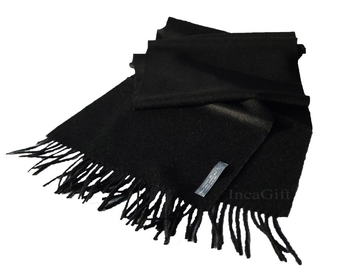 100% Baby Alpaca Scarf  - Black Peruvian Handmade Scarf-  Solid Weave Brushed Scarf