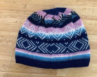 100% ALPACA - alpaca hat handmade in Peru - Fleece Lining  Alpaca hat for women Winter Hat hat -Peruvian Hat Peruvian Products mix blue