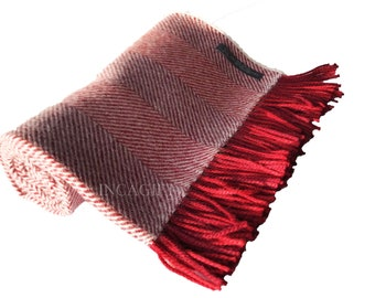 100% Premium  herringbone Woven Baby Alpaca Throw Blanket -  Mix Red blankets made in Peru