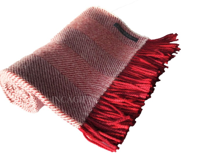 100% Premium  herringbone Woven Baby Alpaca Throw Blanket -  Mix Red blankets made in Peru