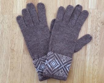 100% ALPACA -Brown  Melange alpaca gloves handmade in Peru - Alpaca gloves for  women  Gloves fancy -Peruvian Products