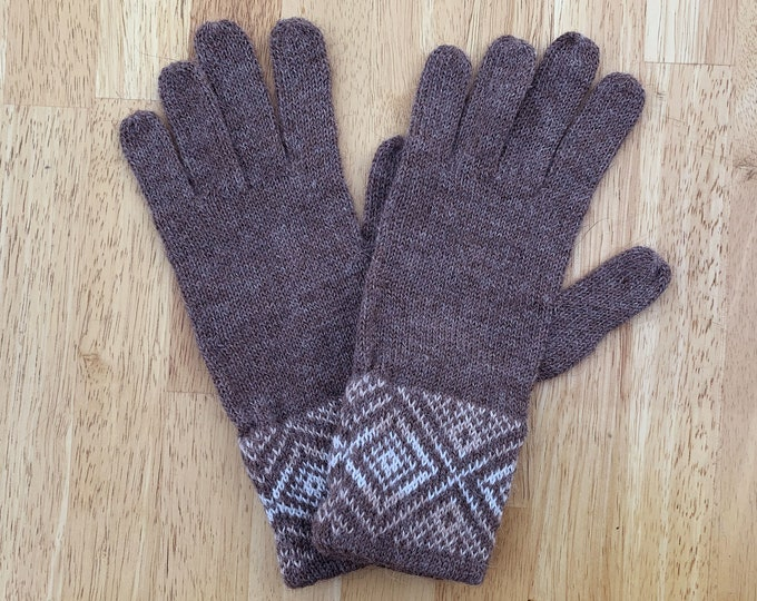 100% ALPACA -Brown  Melange alpaca gloves handmade in Peru - Alpaca gloves for  women  Gloves fancy for texting  -Peruvian Products