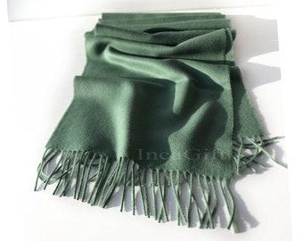 100% Baby Alpaca Scarf  - Emerald Peruvian Handmade Scarf-  Solid Weave Brushed Scarf