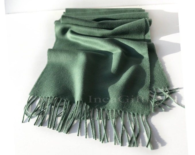 100% Baby Alpaca Scarf  - Emerald Peruvian Handmade Scarf-  Solid Weave Brushed Scarf