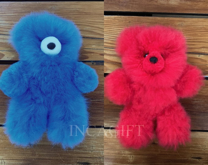 10 -11 IN  Real Super  Baby Alpaca Fur Teddy  Bear - Peruvian Products - Stuffed Colored Alpaca Toys - Handmade RED- BLUE