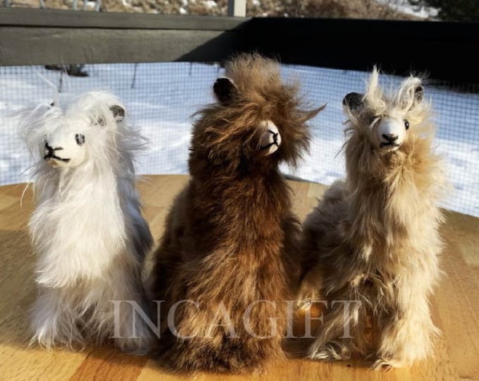 11 IN 9 IN Handmade Alpaca Stuffed Animal Plush Alpaca SURI Fur 13 In /Llama  fur teddy alpaca handmade Peruvian alpaca fur animal toy