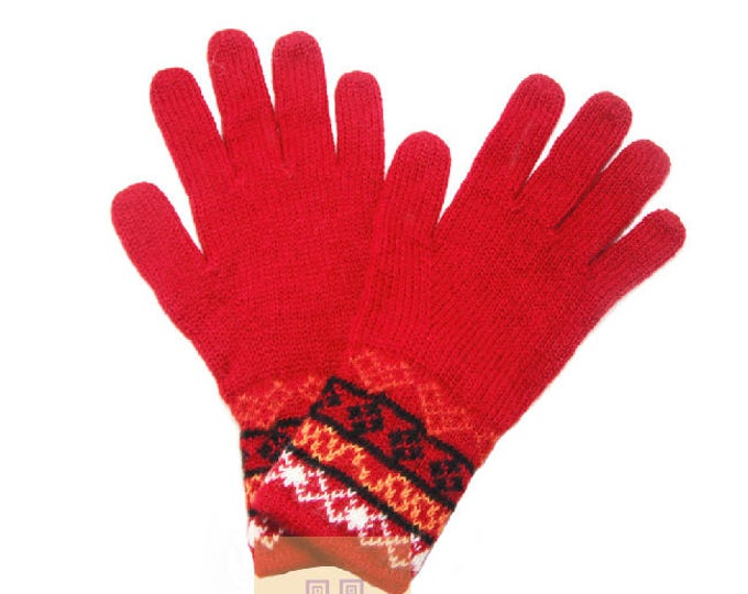 100% ALPACA - alpaca gloves handmade in Peru - Alpaca gloves for men women winter Gloves fancy -Peruvian Products - RED  gloves