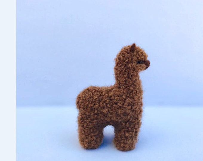 Needle Felted Alpaca Sculptures: Felted Animals by Hand in Alpaca Fiber made in peru 3.5 IN