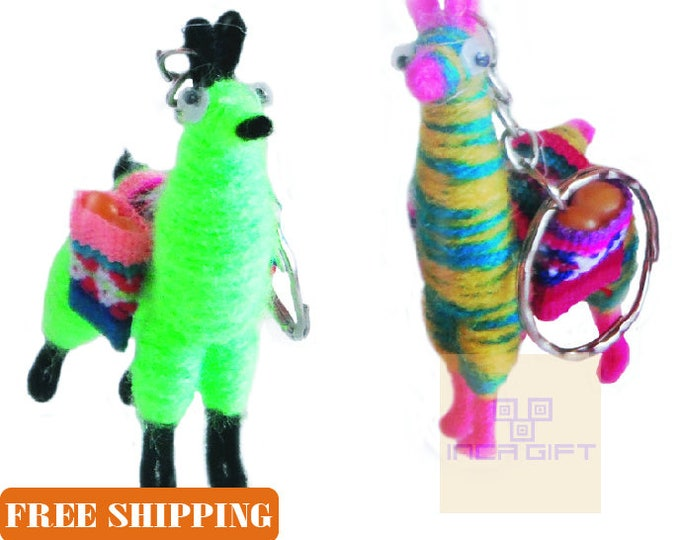1 or 2 PACK  5 PACK Tiny Llama Keychain ethnic decoration gift bag accessories, Andean Collectible Handcrafted Miniature Figurine