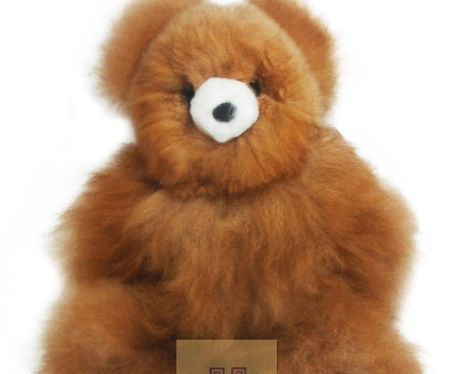 16-18 IN Real Baby Alpaca Fur Teddy  Bear - Peruvian Products - Giant Stuffed Alpaca Toys - Handmade Peruvian Toy - Peruvian Art