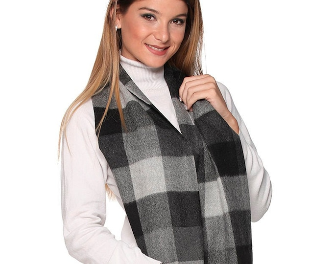 100% Baby Alpaca  buffalo Scarf  - Peruvian Handmade Scarf-  Solid Weave Brushed Scarf gray