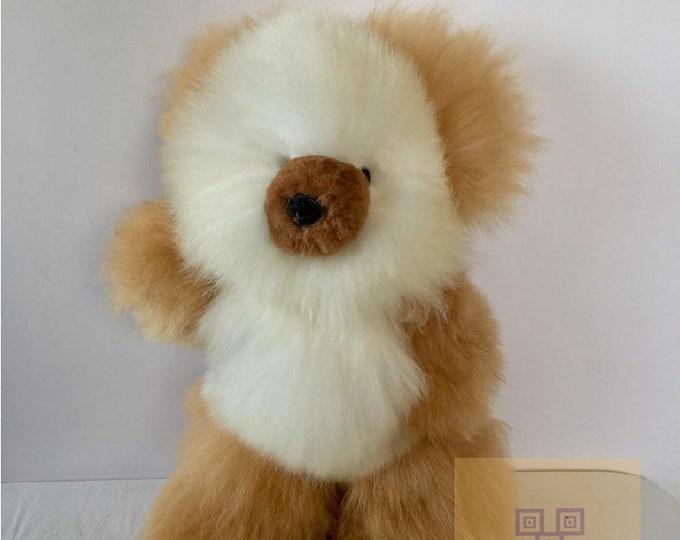 18 IN- 100% Real Baby Alpaca Fur Teddy Bear   Giant Alpaca Teddy Bear- Peruvian Art-  Big Stuffed Alpaca Toy